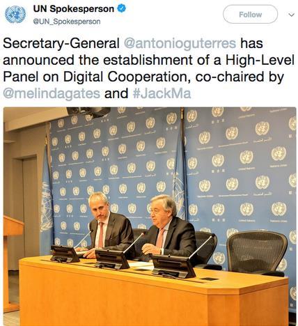 联合国再请马云出任要职 秘书长古特雷斯宣布任命